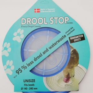 Drool Stop blå transparent i emballage