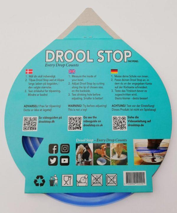 Drool Stop blå transparent i emballage - Bagside