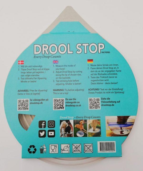 Drool Stop klar transparent bagside af emballage